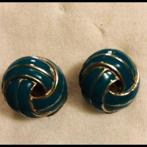 VTG Gold Turquoise Earrings